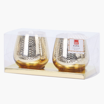 Aura Egg Shaped Candle Holder - Set of 2