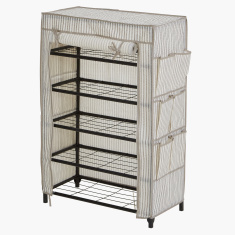 Ebase 5-Tier Shoe Cabinet with Zip Closure