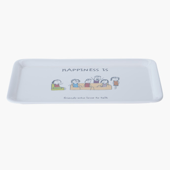Happiness Printed Rectangular Tray