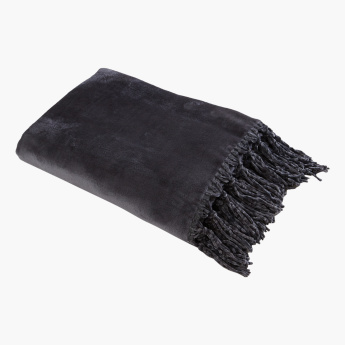 Lavish Micro Flannel Throw with Tassel Detail - 130x180 cms