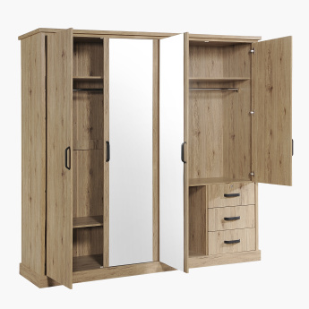 Glasgow 4-Door 3-Drawer Wardrobe with 2 Mirrors