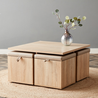 Mason Coffee Table with 4 Storage Stools