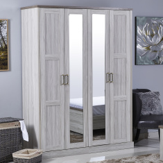 Angelic 4-Door Wardrobe with 2 Mirrors