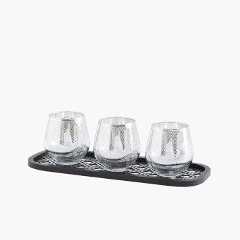 Imperial 3-Piece Egg Shaped Glass Candle Holders with Tray