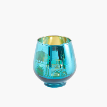 Egg-Shaped Mosque Silhouette Glass Candle Holder - Set of 2