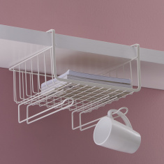 Maisan Over The Shelf Holder Basket With Mug Hooks