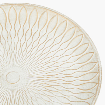 Nightingale Patterned Round Wooden Tray - Set of 2