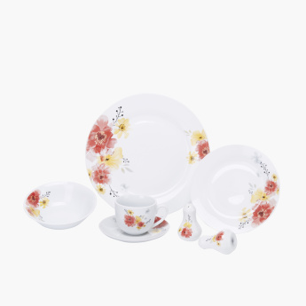 Troy 22-Piece Floral Printed Dinner Set