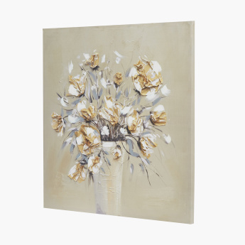 Origami Floral Framed Canvas Picture - 80x80 cms