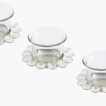 Crystal Tealight Holder with Glass - Set of 3