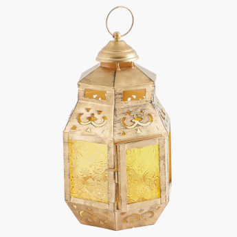 Gold Antique Lantern with Coloured Glass