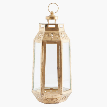 Cutwork Detail Lantern with Clear Glass