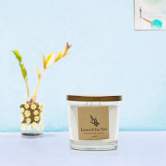 Energize Aroma Therapy Lemon and Tea Tree Jar Candle with Lid