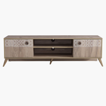 Trellis Rectangular Low TV Unit with 2-Doors for TVs up to 65 inches