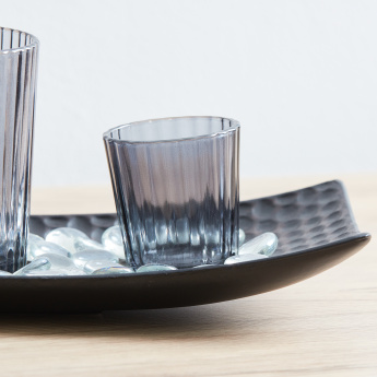 Reflection 3-Piece Tealight Holders with Wooden Plate and Glass Beads