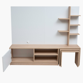Malta 1-Door Wall Unit with 2-Nesting Tables for TVs up to 55 inches