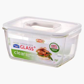 Lock & Lock Rectangular Glass Container with Handle - 4 L